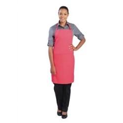 Tablier bavette tour de cou reglable Chef Works - Rose