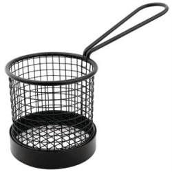 Panier de présentation rond en metal noir avec poignee  80 mm