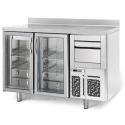 Arrière-bar réfrigéré - 2 portes battantes - INOX - 325 litres - Classe N