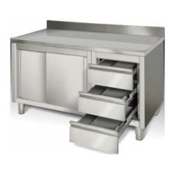 Meuble bas inox portes coulissantes + tiroirs 1600 x 700 x 850