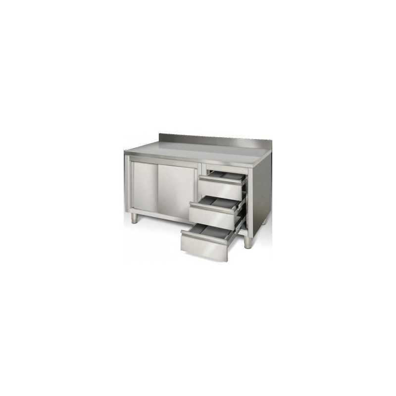 Meuble bas inox portes coulissantes tirroirs 1600 x 700 x 850 gastromastro group sas - Meuble bas inox ...