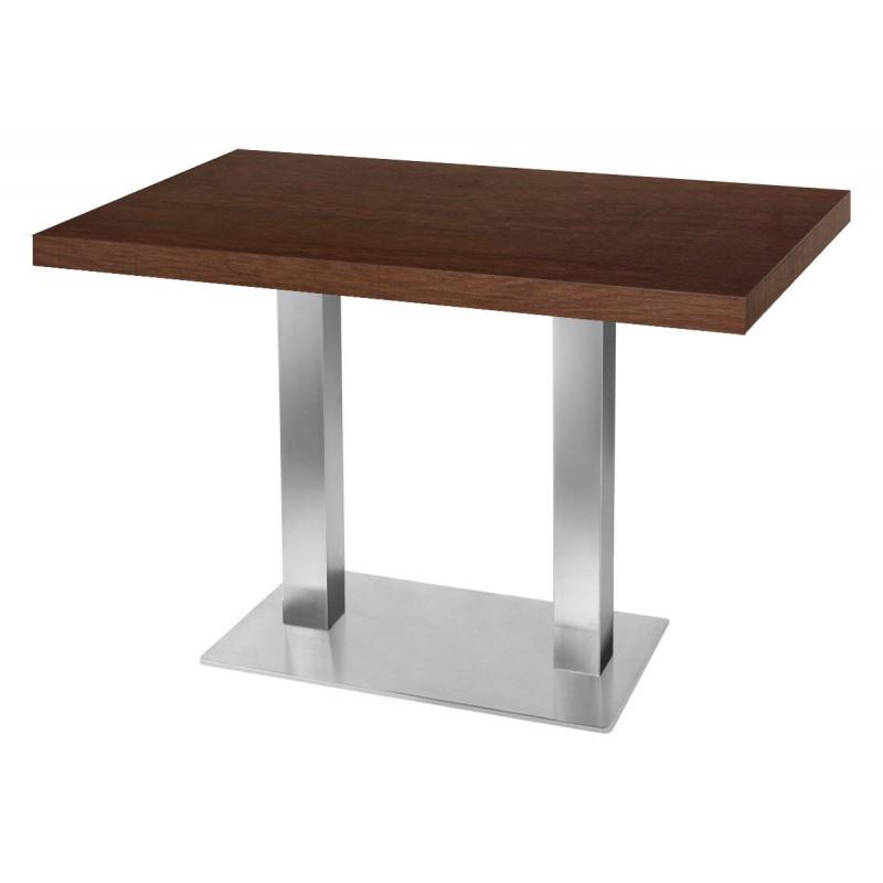 Table de restaurant base carr ultra plat en inox bross avec plateau carr noyer - Plateau de table restaurant ...