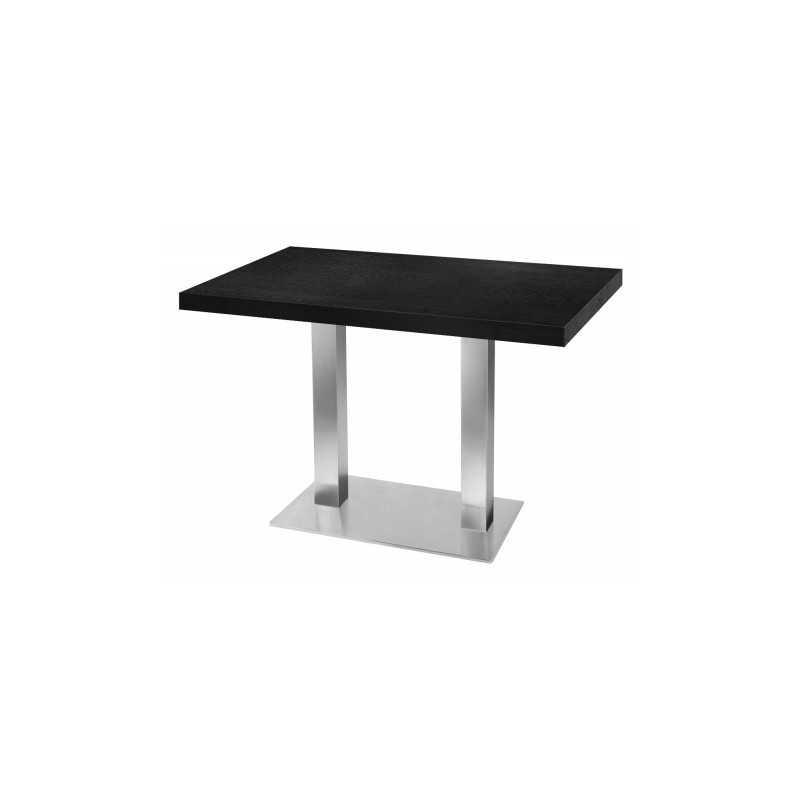 Table de restaurant noir 120 base ultra plat en inox bross avec plateau carr gastromastro - Plateau de table restaurant ...