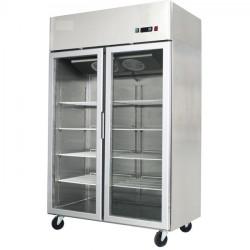 PREMIUM - Armoire réfrigérée vitrée négative - Inox - 1200 L. - Garantie 2 ans - Classe ST