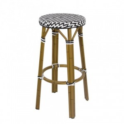 Chaises en rotin bar anthracite avec accoudoirs