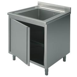 Plonge inox sur meuble - AISI 304 - 600 (L) x 700 (P) x 850 (H) mm