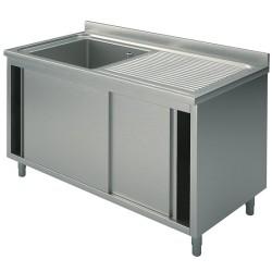 Plonge inox sur meuble - AISI 304 - 1000 (L) x 700 (P) x 900 (H) mm - Avec égouttoir - 1 bac à gauche