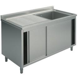 Plonge inox sur meuble - AISI 304 - 1200 (L) x 700 (P) x 850 (H) mm
