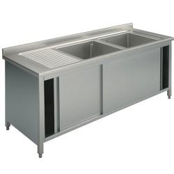 Plonge inox sur meuble - AISI 304 - 1400 (L) x 700 (P) x 850 (H) mm