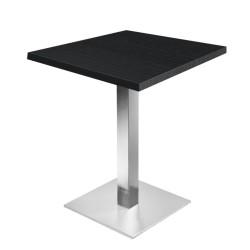 Table de restaurant  Noir Ø60- base ultra plat en inox brossé avec plateau carré