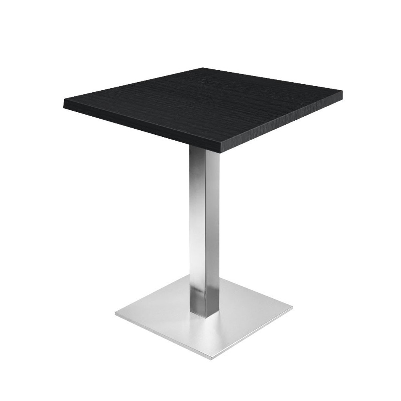 Table de restaurant noir 60 base ultra plat en inox bross avec plateau carr gastromastro - Plateau de table restaurant ...