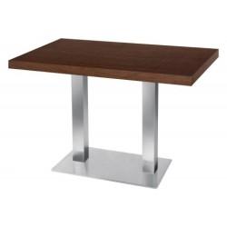 Table de restaurant avec base ronde en fonte avec plateau carré