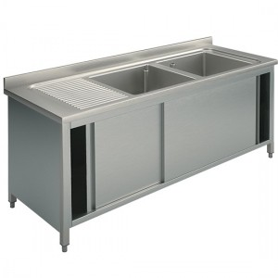 Plonge inox sur meuble - AISI 304 - 1600 (L) x 700 (P) x 850 (H) mm