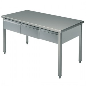 Table Inox  L1500XP700XH900+ 3 tirroirs