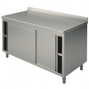 Meuble bas inox portes coulissantes 1800 x 600 x 850