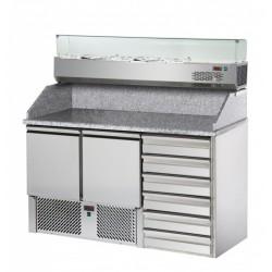 Meuble  à Pizza 3 portes FORCAR  dessus granit+ kit refrigérée