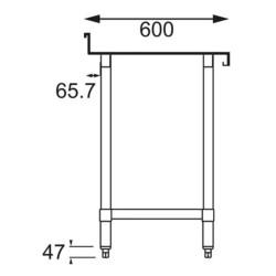 Table inox adossée - Paiement 4X - AISI 430 - 600 (L) x 600 (P) x 900 (H) mm