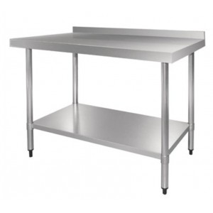 Table inox adossée - AISI 430 -  1200 (L) x 700 (P) x 900 (H) mm