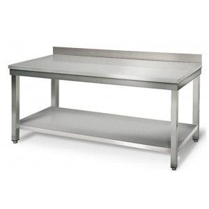 Table inox adossée - 2000 (L) x 600 (P) x 900 (H) mm