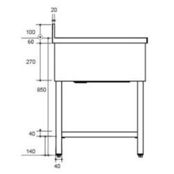 Plonge inox double bac - AISI 304 - 2000 (L) x 600 (P) x 850 (H) mm