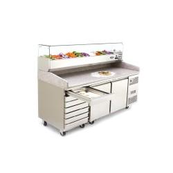 Meuble à pizza - Garantie 2 ans - 580 L - 2 portes + tiroirs + roulettes - 9 x GN 1/3 - Classe T