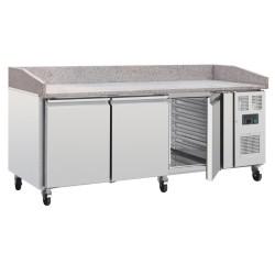 Table réfrigérée pour pizzas - Tropicalisé - Paiement 4X - Garantie 2 ans -634L - 3 portes + roulettes  - Classe T