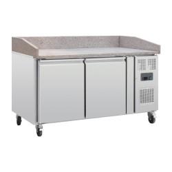 Table réfrigérée pour pizzas - Paiement 4X - Garantie 2 ans - 290L - 2 portes + roulettes - Classe N