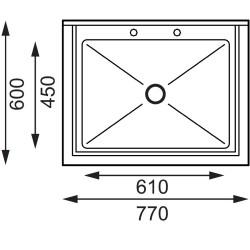 Plonge inox - AISI 304 - Spéciale marmites - 770 (L) x 600 (P) x 900 (H) mm - Sans égouttoir