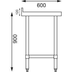 Table inox adossée - AISI 430 - 1200 (L) x 600 (P) x 900 (H) mm