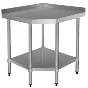 Table inox adossée d'angle - AISI 430 - 900 (L) x 700 (P) x 960 (H) mm