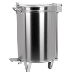 Poubelle inox - 95 litres + pédale/roulettes