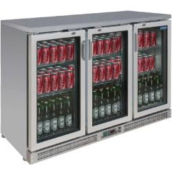 Arrière-bar réfrigéré - 3 portes vitrées battantes - INOX - 335 litres - Garantie 2 ans - Classe N