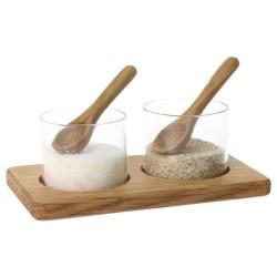 Pots sel et poivre - Verre et bois