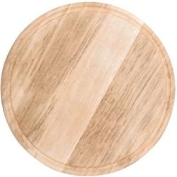 Assiette / Planche à pizza avec rainure à jus - Ø 420 mm - Bois