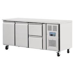 Table réfrigérée positive - GN1/1 - Garantie 2 ans - 417 L - 2 portes + 2 tiroirs à droite - 1795 (L) x 700 (P) mm - Classe T