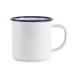 Tasses mug - Acier émaillé - 350 ml - Couleur blanc et bleu  - Olympia Enamel - Lot de 6