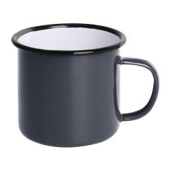 Tasses mug - Acier émaillé - 350 ml - Couleur gris et noir - Olympia Enamel - Lot de 6