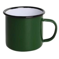 Tasses mug - Acier émaillé - 350 ml - Couleur vert et noir - Olympia Enamel - Lot de 6