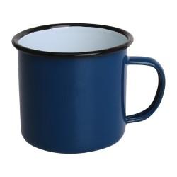 Tasses mug - Acier émaillé - 350 ml - Couleur bleu et noir - Olympia Enamel - Lot de 6