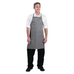 Tablier bavette - Tour de cou réglable - Double poche - Gris - Chef Works - Taille unique