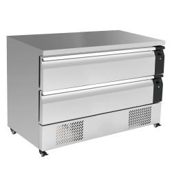 Soubassement réfrigéré négatif - 2 tiroirs - GN 1/1 + GN 2/1 - 1230 (L) x 700 (P) mm - Classe N