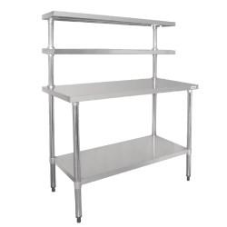 Table inox avec 2 étagères supérieures - Paiement 4X - AISI 430 - 1200 (L) x 600 (P) x 1500 (H) mm