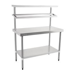 Table inox - Support bacs inox - 1 étagère supérieure - AISI 430 - 1200 (L) x 600 (P) x 1500 (H) mm