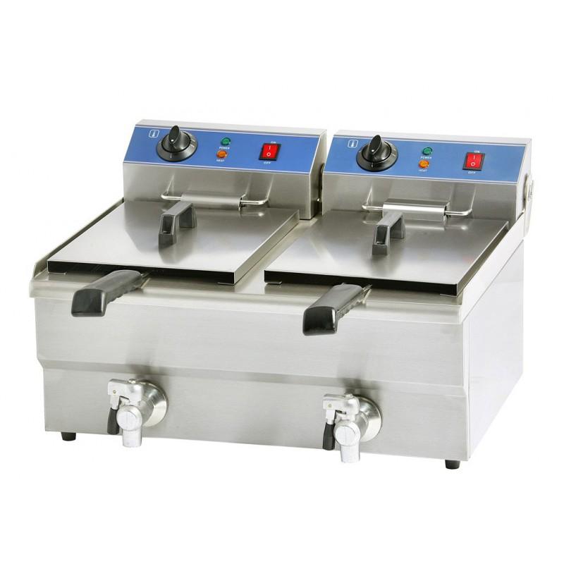 Friteuse lectrique professionnel 2 bacs 2x8 litres - Friteuse sans huile professionnelle roller grill ...