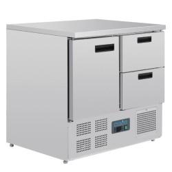 Table réfrigérée positive - GN 1/1 - Garantie 2 ans - 240 L - 1 porte + 2 tiroirs - 900 (L) x 700 (P) mm - Classe N