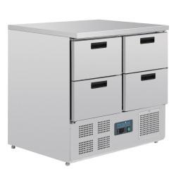 Table réfrigérée positive - GN 1/1 - Garantie 2 ans - 240 L - 4 tiroirs - 900 (L) x 700 (P) mm - Classe N