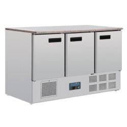 Table réfrigérée positive - Marbre - GN 1/1 - Garantie 2 ans - 368 L - 3 portes - 1370 (L) x 700 (P) mm - Classe N