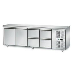Table réfrigérée positive - GN 1/1 - 421 L - 2 portes + 4 tiroirs à droite - 2230 (L) x 700 (P) mm - Classe N