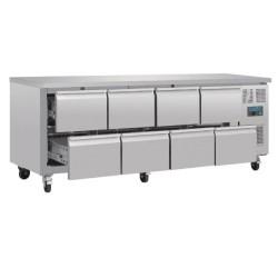 Table réfrigérée positive - GN1/1 - 616 L - 8 tiroirs - Garantie 2 ans - 2230 (L) x 700 (P) mm - Classe T