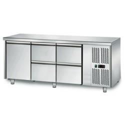 Table réfrigérée positive - GN 1/1 - 294 L - 1 porte + 4 tiroirs à droite - 1795 (L) x 700 (P) mm - Classe N